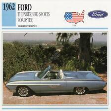 1962 FORD THUNDERBIRD Sports Roadster Classic Car Photo/Info Maxi Card