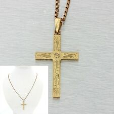 1880s Antique Victorian 10k Solid Yellow Rose Gold Cross Pendant Necklace
