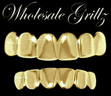 REAL SHINY!! New 14k Gold Plated HipHop Teeth Grillz Caps Top & Bottom Grill Set