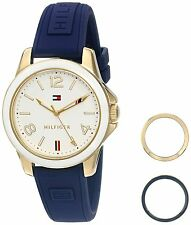 Tommy Hilfiger Original 1781679 Women's Gold Case / Blue Silicone Watch 34mm