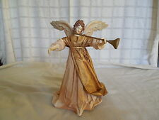 Vintage fabriche gold tone Angel tree topper 1980's