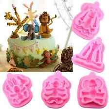 5Pcs Animals Silicone Mold Baby Birthday Party Fondant Cake Decorating Molds New