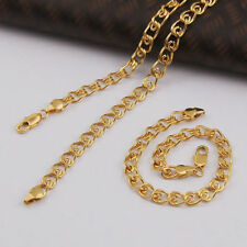 "Real 9k 'Gold filled' Unisex Bracelet + Necklace 23.2"" Chain Set Gift"