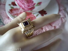 Antique vintage Georgian Revival Gold Amethyst square Ring size 8 or Q