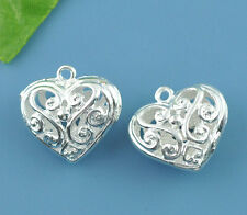 2 SILVER PLATED FILIGREE PUFFA HEARTS ~CHARMS~EARRING~PENDANTS 21mm x 20mm (75B)