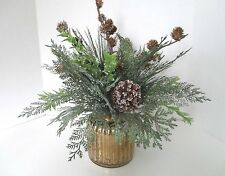 ICED GREENS Pinecones GOLD MERCURY GLASS POT CHRISTMAS floral ARRANGEMENT~New