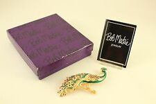 Mint in Box Jewelry Bob Mackie Emerald Enamel Rhinestone Peacock Brooch Pin