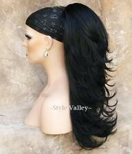 Black Ponytail Extension Hair piece Long  Straight  Clip in on layered wavy ends