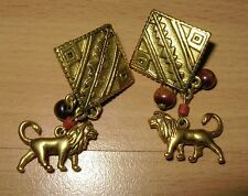 Disney Lion King Dangling Pierced Earrings Brown Beads Goldtone Tribal Design