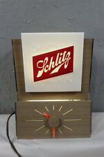 VINTAGE 1950's SCHLITZ BEER ADVERTISING LIGHT-UP BAR WORKING 2 SIDED CLOCK SIGN