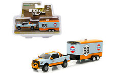Greenlight Ford 150 2015 Gulf Oil with enclosed car hauler 1/64 32070 B
