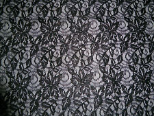 "BLACK & GOLD LACE BI STRETCH FABRIC 50"" WIDE CORDED GLITTER PARTY DRESS"