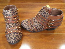 NEW Jessica Simpson Eden Ankle Boots Girls size 3 Leopard Studded $70.00