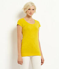 Eileen Fisher Candlelight Yellow Organic Cotton Scoop Neck Long Tee Top  XS New