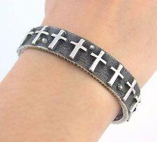 Navajo Tufa Cast Sterling Silver Cross Cuff Bracelet ERNEST RANGEL    RS