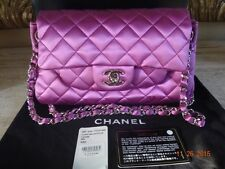 Auth CHANEL  satin pink classic Quilted shoulder bag $2225