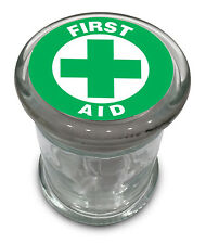 "Green First Aid Symbol Big Glass Jar w/ lid Air Tight Seal Container 5"" Large"