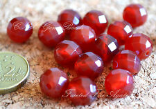 5 Beads of Natural Red Fire Agate Faceted Beads 10mm Gemstone Crystal DIY Rare