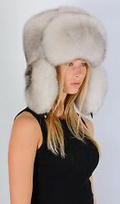 Saga Furs Natural White Fox Fur Men Women Unisex Russian Ushanka Trapper Hat