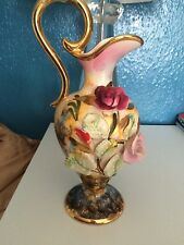 Vintage Antique H Bequet Quaregnon Belgium vase , jug , pitcher , floral 682