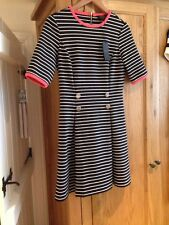 Ted Baker Black And White Stripe Dress With Coral Trim Size 2 10 Bnwt