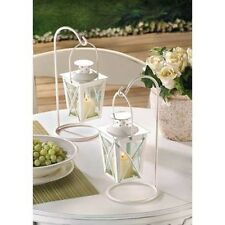 2 Small hanging white fairy Candle Holder lantern outdoor terrace patio garden