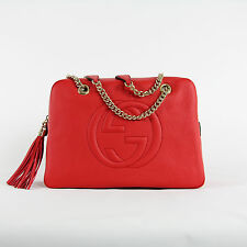 NEW authentic GUCCI Soho Red Leather Double Chain Shoulder Bag Handbag ITALY NWT