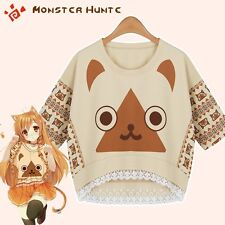 Kawaii Girls Anime Monster Hunter Airou Cat T-shirt Casual Short Sleeve Tee Top