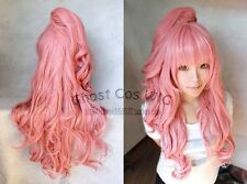 Popular Megurine Luka Long Smoke Pink Wavy Cosplay Wig With Clip Ponytail