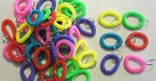 15 NEW SPIRAL WRIST COIL KEYCHAINS STRETCHABLE KEY RING WRIST BAND KEY CHAIN