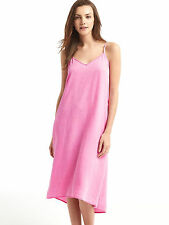 GAP WomenDress Cami XS V-neck Denim Midi Faded Pink Adjustable Straps New Tencel