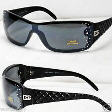 New DG Designer Womens Rhinestones Sunglasses Shade Fashion Black Shield Bling 1
