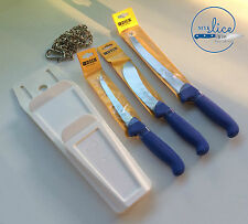 F Dick Pro Butcher 3 Pc Knife Set, Mars Pouch & Stainless Chain. Safe Storage.
