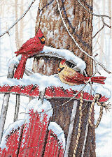 Cross Stitch Kit ~ Dimensions Wintertime Snow Birds Cardinals on Sled #70-08837