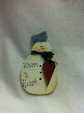 Hand Made Winter Pins- Wood Snowman