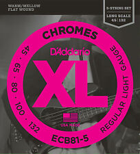 D'Addario ECB81-5 XL Chromes Flat Wound Bass Guitar Strings 45-132 five string