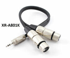 1ft Kirlin TRS 3.5mm Plug to 2-XLR Female OFC Noise-Free Audio Mixer Cable