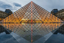 Framed Print - Louvre Palace Glass Pyramid Paris France (Picture Poster Art)