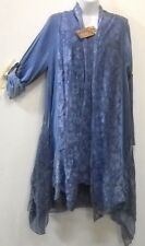 Nwt SACRED THREADS viscose/cotton cornflower blue lace ruffle vest TUNIC TOP XL