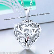 Heart & Ring Crystal Necklace Locket Love Xmas Birthday Gift For Her Wife Women