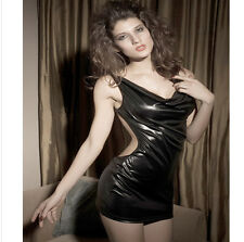 Sexy Wetlook Minikleid Leder Optik Partykleid Domina Abendkleid Gogo Clubwear
