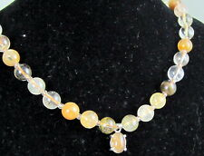 Gorgeous Rare Golden Apricot Peach Clear Tan Rutilated Quartz 9 MM Bead Necklace