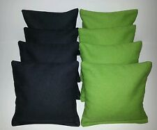 SET OF 8 LIME GREEN & BLACK CORNHOLE BEAN BAGS FREE SHIPPING!