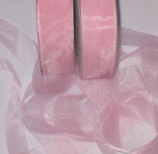 "10m x Palest PINK shimmering CRYSTAL Organza ribbon 37mm 1.5"" wide"