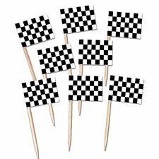 Pack of 50 Wooden Racing Checkered Flag Picks for Cupcakes, Canapés etc