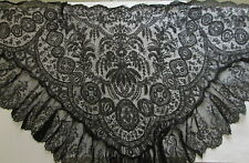 BLACK CHANTILLY LACE ANTIQUE VICTORIAN MOURNING SHAWL Civil War Era Magnificent