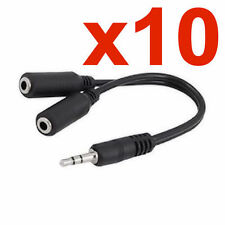 10X 3.5MM AUDIO Y SPLITTER CABLE CORD STEREO HEADPHONE EARPHONE MALE TO 2 FEMALE