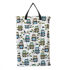 1 Large Hanging Wet/Dry Pail Bag Cloth Diaper,Insert,Nappy,Laundry,Owl Tree