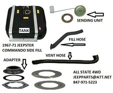 JEEPSTER COMMANDO 12 GAL NEW SIDE FILL GAS TANK KIT STRAPS SENDER HOSES ADAPTER