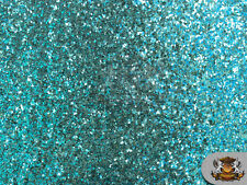 """Glitter Large Stargem TURQUOISE Crafting Vinyl Fabric / 54"""" Wide / Sold BTY"""